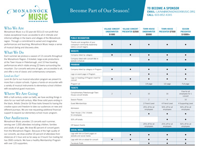 Monadnock Music Membership Brochure